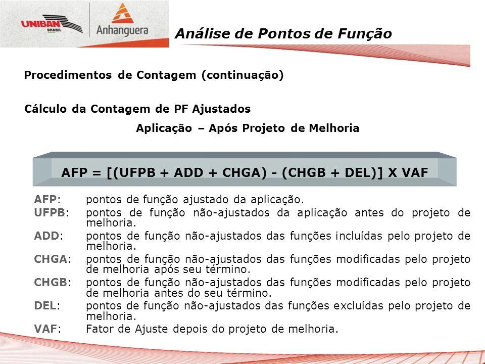 AFP = [(UFPB + ADD + CHGA) - (CHGB + DEL)] X VAF